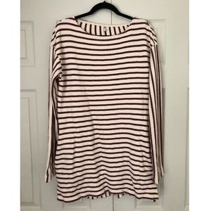 Free People Cranberry + White Striped Tunic Sz S